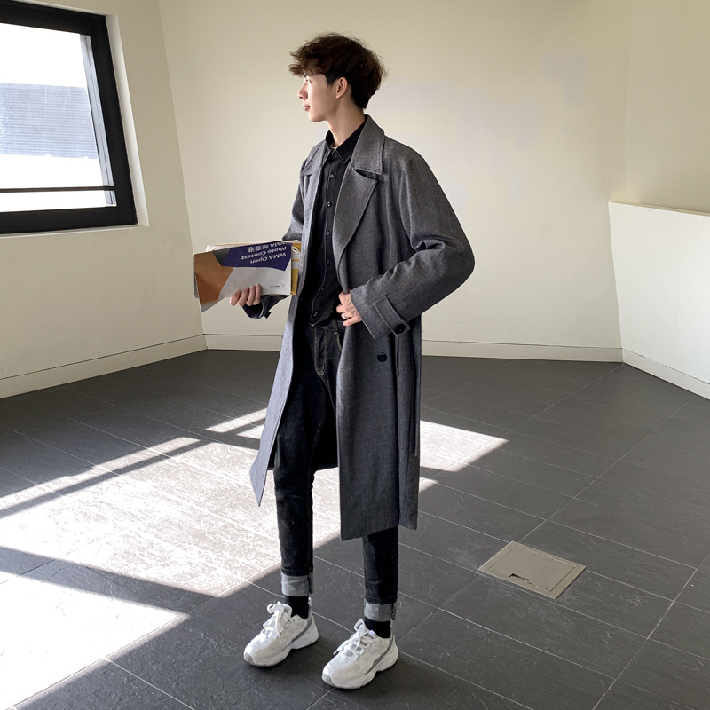 Men 39 s windbreaker 2019 spring new solid color long style lapel loose casual personality youth vigor men 39 s wear in Trench from Men 39 s Clothing