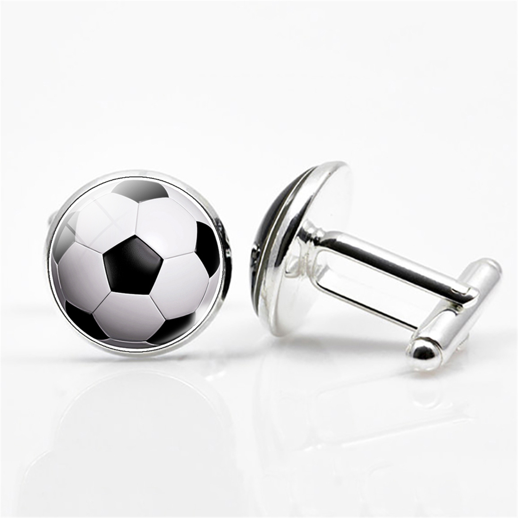 6 Style High Quality Silver Plated Jewelry with Football Pattern Novelty Cufflinks Stud for Men Wedding Gift