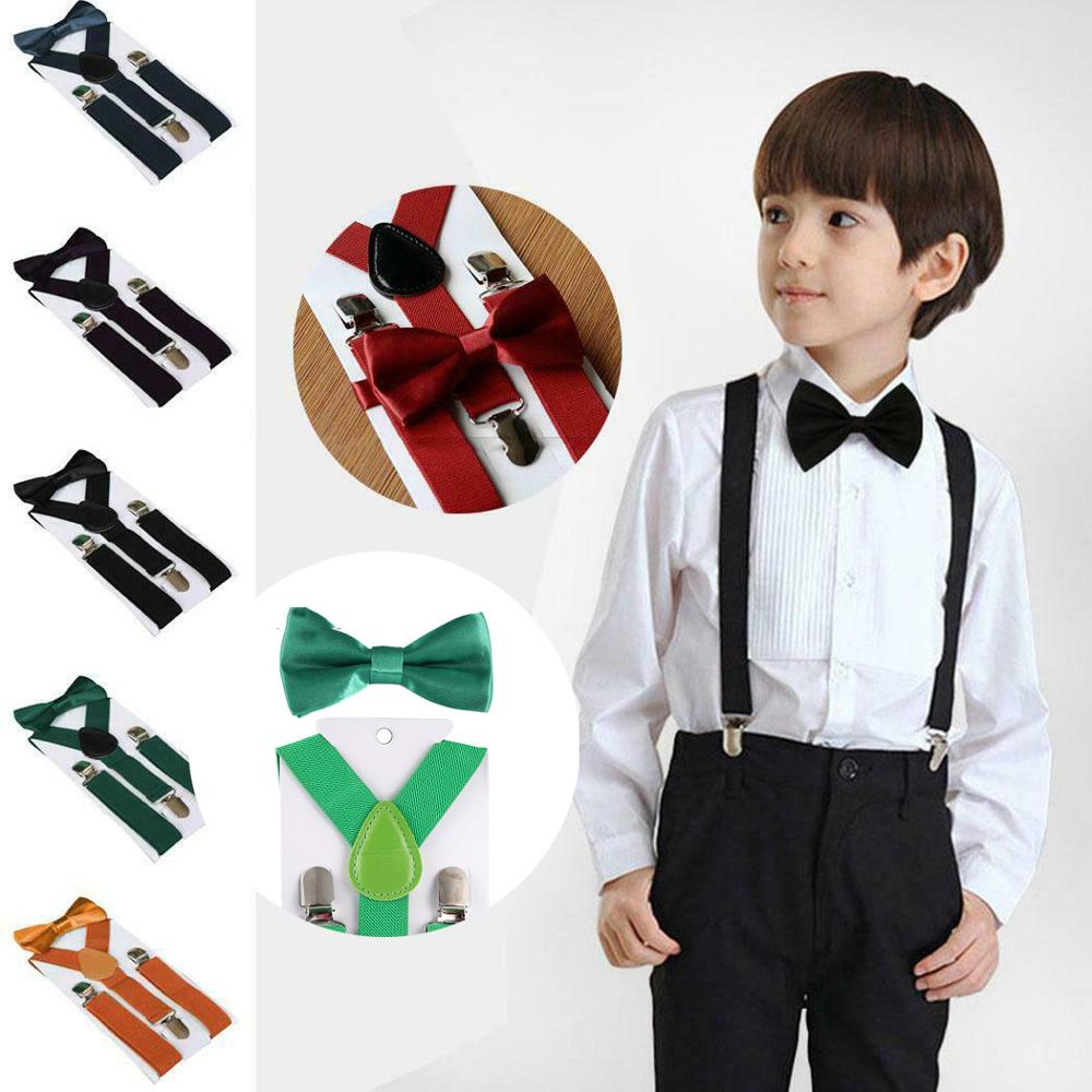 Baby Toddlers Children Solid Suspender And Bow Tie Set Braces For Kids Boys Girls