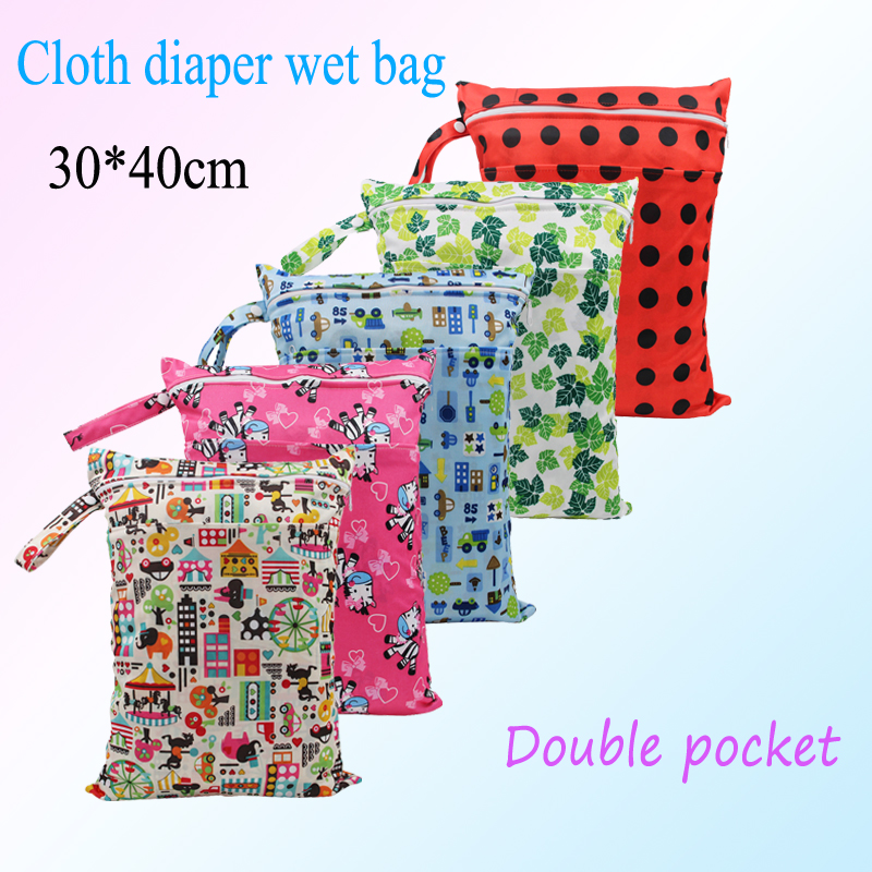 New coming colorful Printing Diaper wet bag Double Zippered Reusable Waterproof baby Cloth Diaper Wet Dry Bag 1pcs free shipping