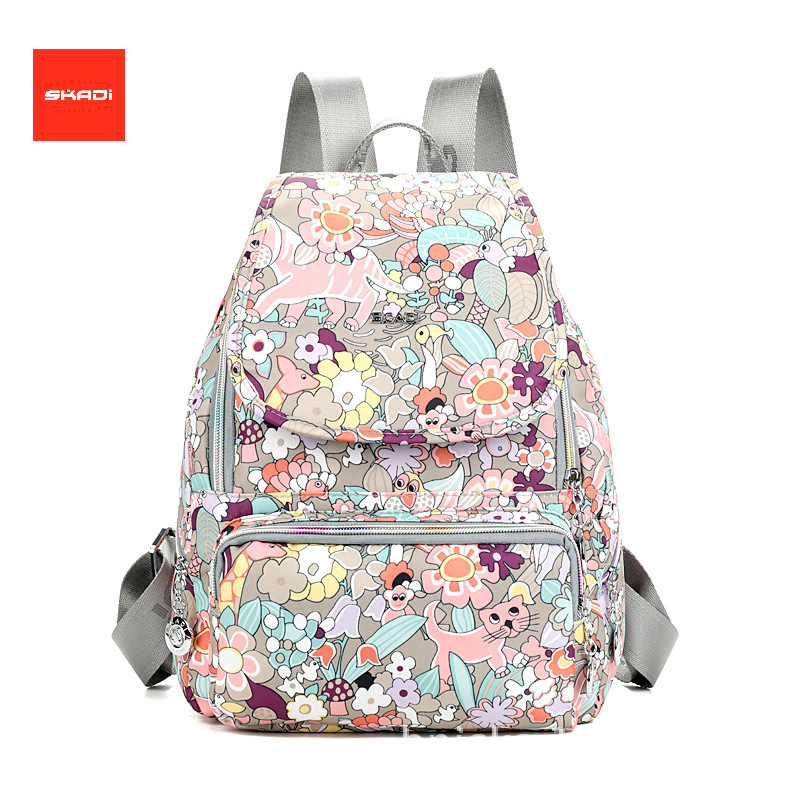 SKADI Brand Women Backpack Waterproof Oxford Lady Casual Shoulder Backpack Girls Cartoon Dream Forest Printing Schoolbag Mochila