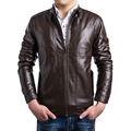 2016 New Men's Leather Jacket Men Fashion Stand Collar Leather Coat Casual Slim Fit Leather Clothes Men Asian size M~5XL