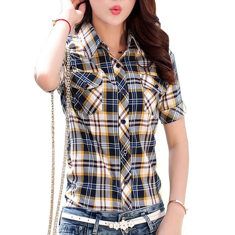 M-3XL Plus izmēra topi Ikdienas īsām piedurknēm Plaid krekli Sieviešu vasaras blūzes 100% kokvilnas krekls biroja darbs plāns krekls sieviešu Blusa