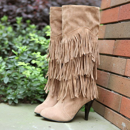 ФОТО winter boots 2017 New!!!! women boots DS321 Gaotong scrub high - heeled large size fringed boots