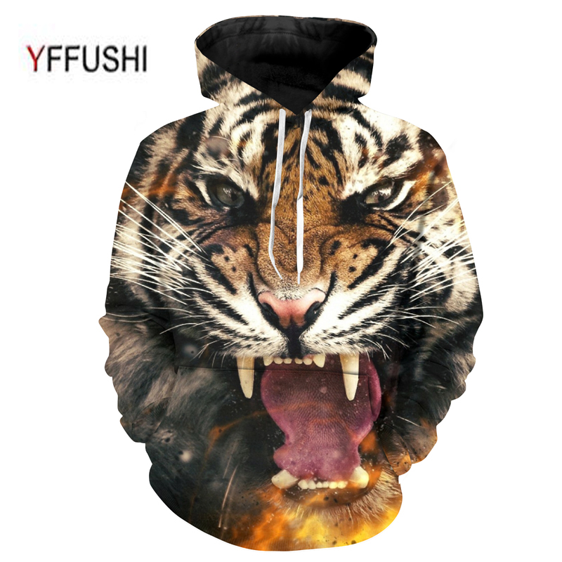 YFFUSHI 2018 Tiger Printed Hoodies 3D Men/Women Hooded Pullover Sweatshirts Casual Loose Outwear Novelty Coat Plus Size 5XL
