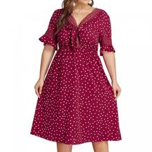 Women Prairie Chic A-line Dot Short Bow Neck Knee-length High Waist Slim Plus Size V-neck Summer Dresses Large Dress