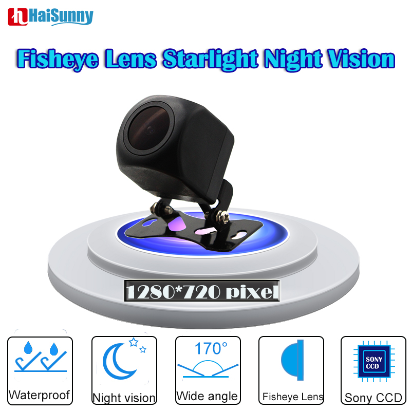HD 170 Degree 1280*720P Fisheye CCD Lens Starlight Night Vision Car Reverse Rear View Camera For Universal Parking Assistance