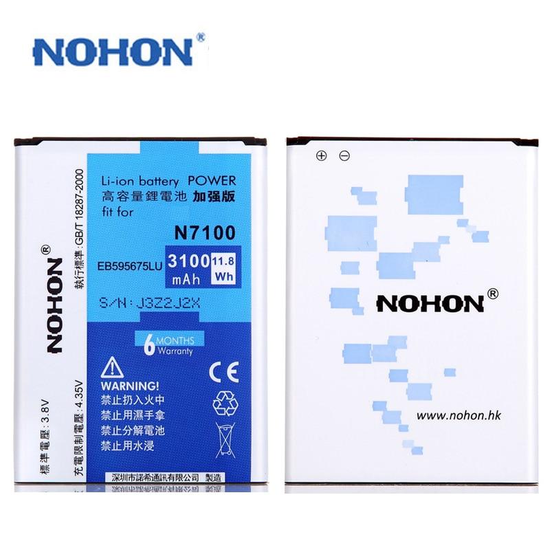imágenes para Top Calidad NOHON Batería EB595675LU Para Samsung Galaxy Nota 2 N7100 N7102 N719 Batarya de Litio 3100 mAh Paquete Al Por Menor