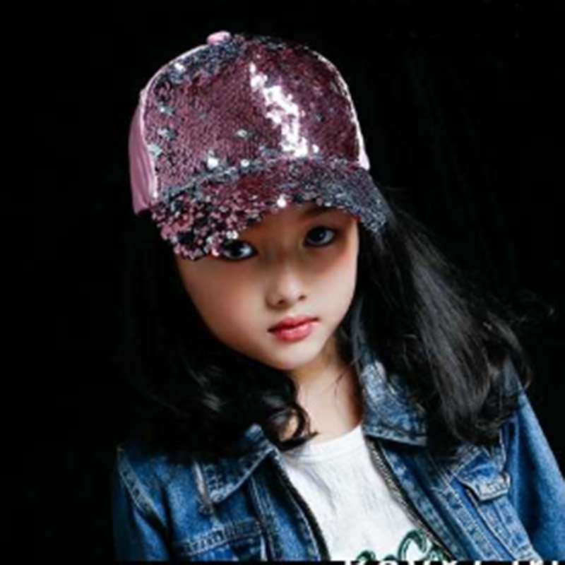 MAERSHEI Summer Girls boys Hat   Baseball     Cap   Sequins Bling Hinning Mesh   Cap   Adjustable Snapback Kids Casual Hip Hop   cap