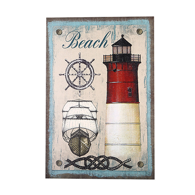 American Country Retro Nostalgia Lighthouse Paintings Linen Painting ...