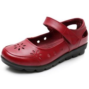 Image 5 - GKTINOO 2019 chaussures dété en cuir véritable pour femme chaussures plates à talons bas avec crochet et boucle en cuir souple chaussures plates pour dames