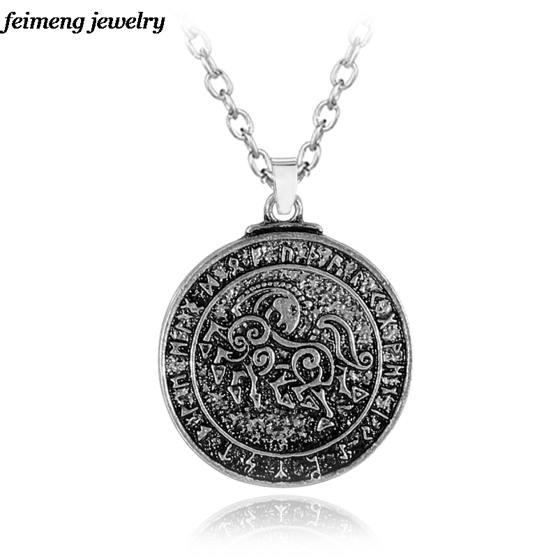 Aliexpress Com Buy 2 In 1 Constellations Pendant Amulet: Aliexpress.com : Buy Vikings Runes Amulet Necklaces Wolf