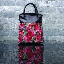 Casual Totes Dame Handtaschen Aus Echtem Leder Reise Tragbare Frauen Schulter Taschen Vintage Stickerei Blume Handtasche Crossbody Tasche