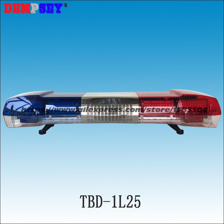 TBD-1L25 High Quality Warning Lightbar LED Police Light Bar 100W Siren & 100W Speaker DC12V Emergency Strobe Warning Light