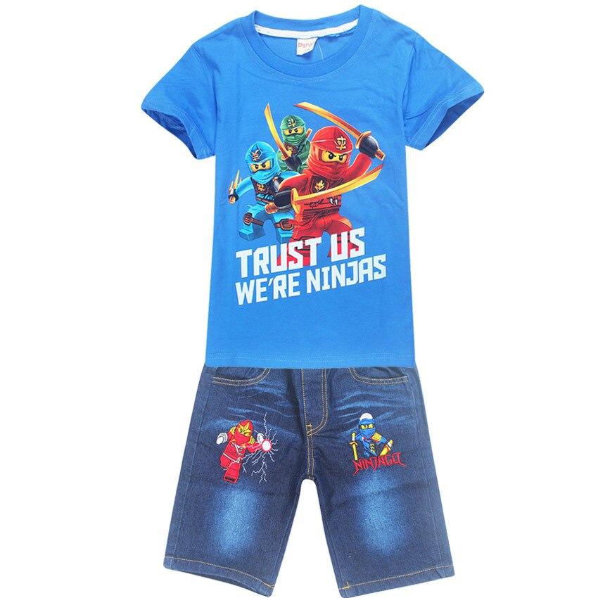 Children Baby Boys Cartoon Super  man Clothes Kids Character Short Sleeve Shirt Ninjago Printed Clothing Sets Child Sport Suits