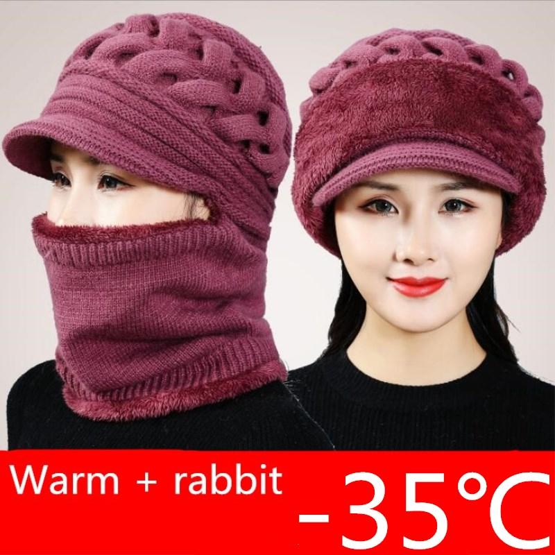 Winter Hats Skullies Beanies Mom Hat Beanies For Women Wool Scarf Caps Balaclava Mask Gorras Bonnet Twist stripes Knitted Hats