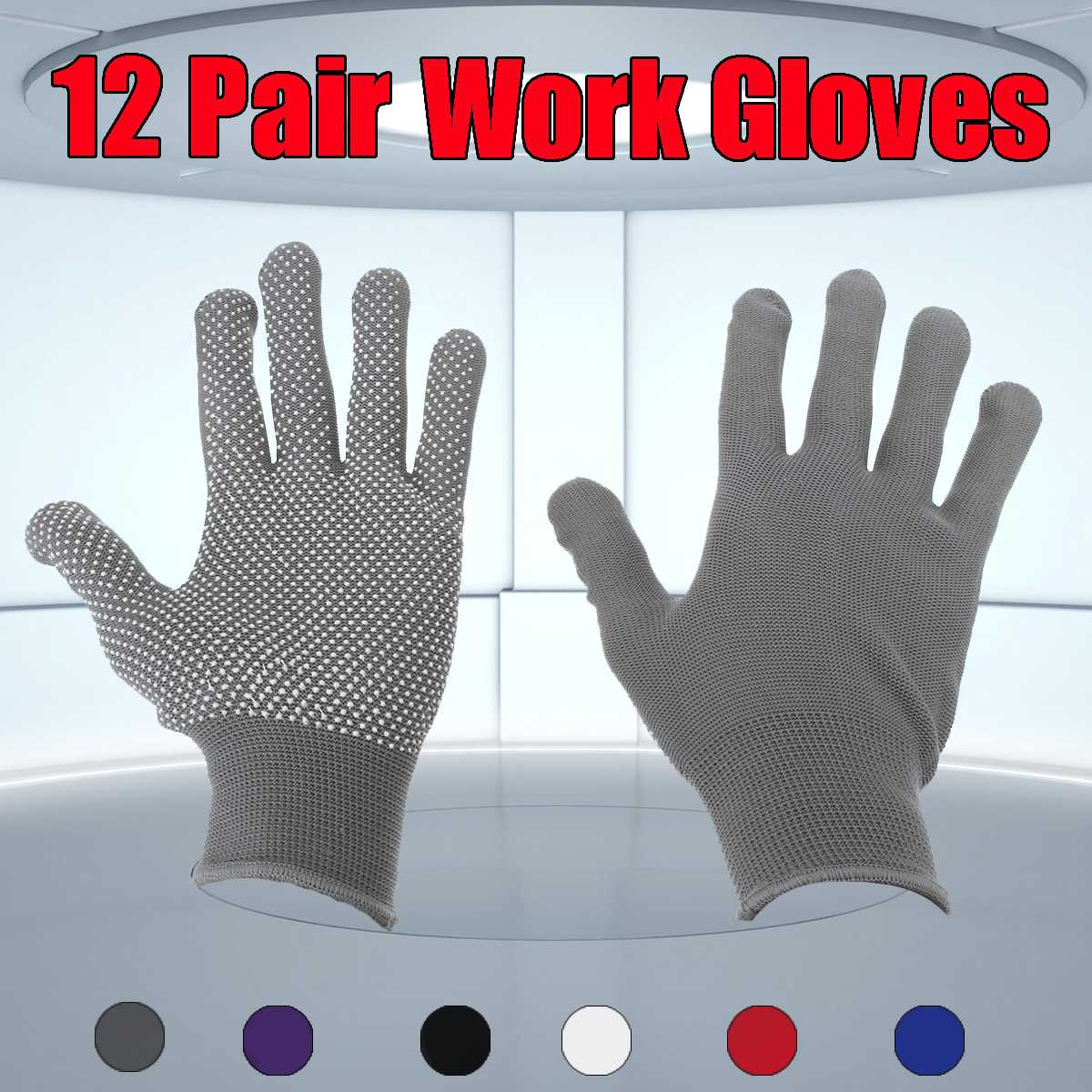 12 Pairs Workplace Safety Gloves Hand Protector Full Finger Non-slip Labor Insurance Working Gloves Men Women Motorcycle Gloves