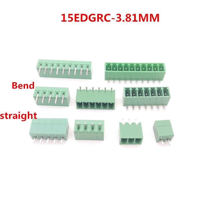 20pcs 2-10Pin PCB 15EDGRC-3.81mm Pitch Universal Plug-in Screw Green Terminal Block Connector pin header