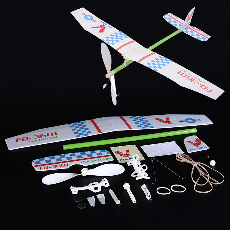 Knight Light Rubber Band Powered Aircraft Glider Model Competition Kit Aircraft Model Educational Toy Chirsmas Gift For Children