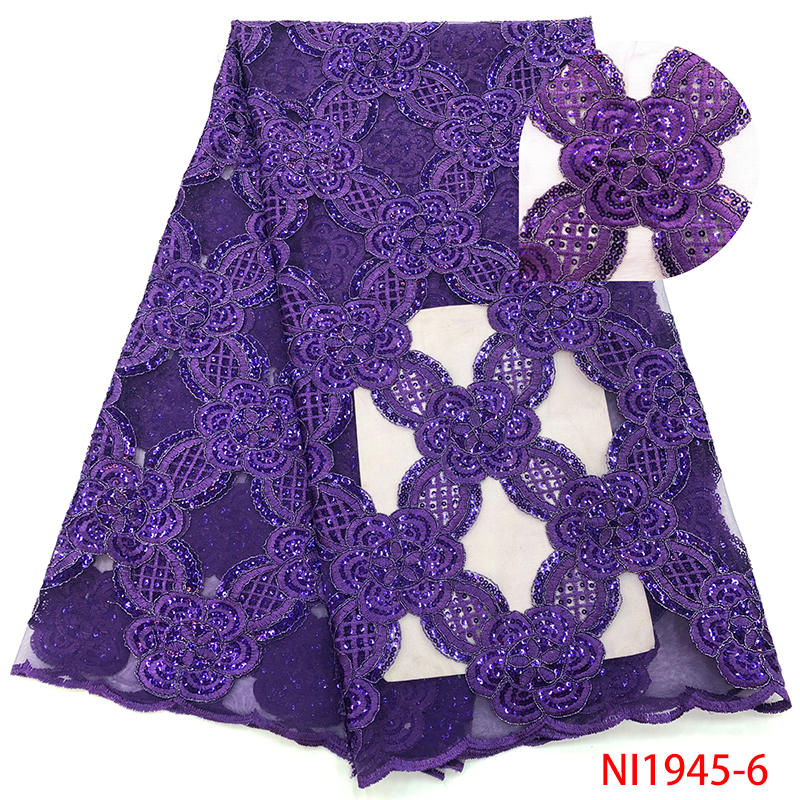 Purple African Lace Fabric Nigerian Tulle Lace Fabric With Sequins French Embroidered Net Laces For Wedding Dresses KSNI1945-6