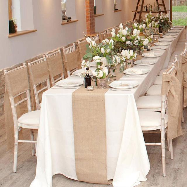 30cmx10m Vintage Natural Burlap Jute Linen Table Runner Lace Cloth For Dinning Room Restaurant Gadget