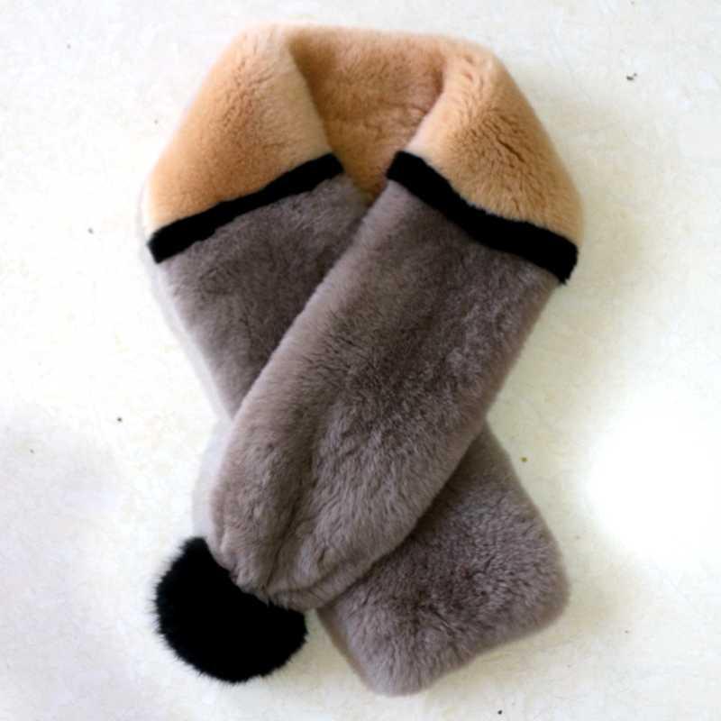 Russe hiver épais doux chaud véritable fourrure écharpe col femme fourrure pompon boule écharpe femelle réel Rex lapin fourrure écharpes châle
