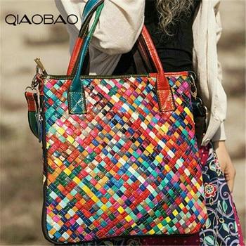 QIAOBAO 100% genuine leather bag women messenger bags handbags women famous brand bag