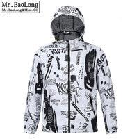 2019 White Trench Coat Men Unique Print Fashion Full Sleeve Thin Polyester Dust Coat Men Overcoat Plus Size waterproof jacket
