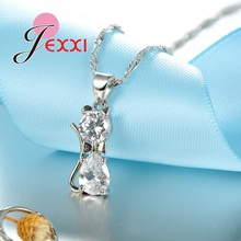 Genuine 925 Sterling Silver Cubic Zirconia Cat Kitty Necklace Pendant+Leverback Earrings