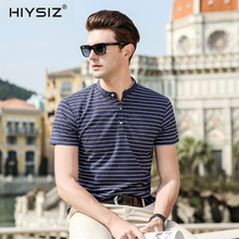 HIYSIZ New Hot T-Shirts Men 2019 Soft Streetwear White Striped Casual T Shirt Turn-down Collar TShirts For Summer ST022