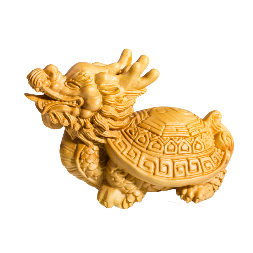 Bois Dragon tortue statue décoration de la maison vintage décor Feng Shui sculpture artisanat chanceux ornements artisanat miniature estatua