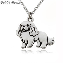 Fei Ye Paws Cute Cavalier King Charles Spaniel & English Toy Spaniel Dog Pet Charms Pendant Necklaces Stainless Steel Chain Gift(China)