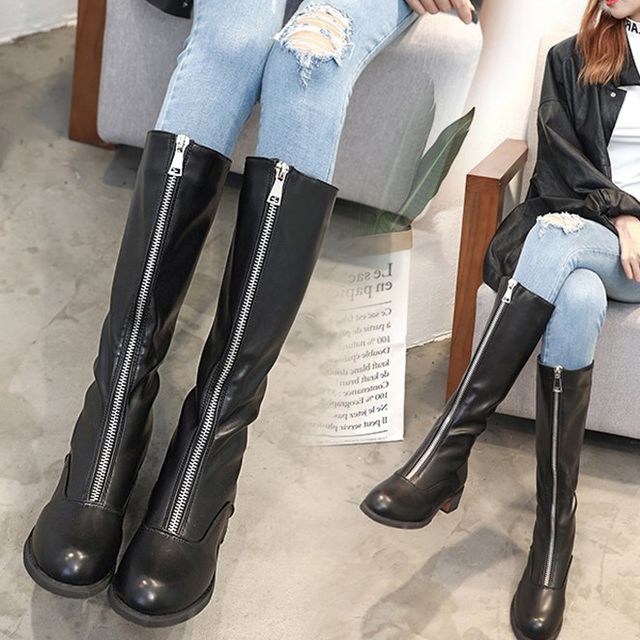 973569fbd5d Women Mid-Calf Boots Front Zip Block Middle Heels Knee High Winter Boots  Warm Plush Fur Wide Calf Long Booties British Style