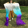 1pair=2pcs White/Turquoise/Purple real silk pure silk material Fans Veils for Bellydancing or Stage show