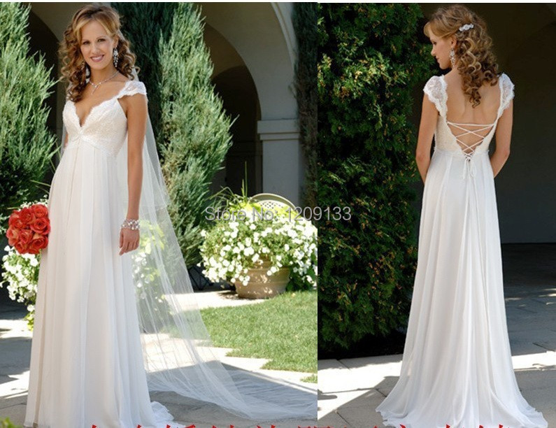 Wedding Gowns 2015 Fashionable Simple Easy White Chiffon