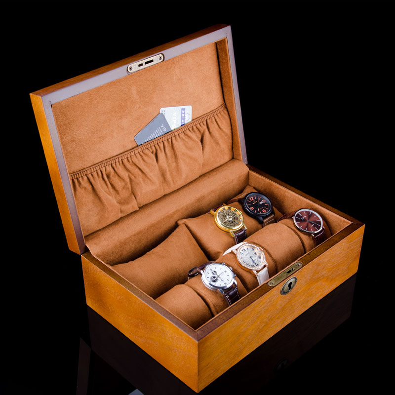 Fashion Luxury Wood Watch Box Top Yellow Durable Watch Storage Case Original Brand Watch Display Boxes Jewelry Gift Box W058 kz headset storage box suitable for original headphones as gift to the customer