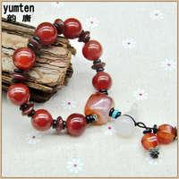 Yumten Natural Ruby Beads Bijoux Femme Marque De Luxe Bracelet Men Women Love Charm Bangles New