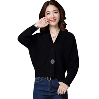 Autumn Spring Knitted Cardigan Women Sweater Short Coat Ladies Elegant Long Sleeve Crop Sweaters Outerwear Batwing