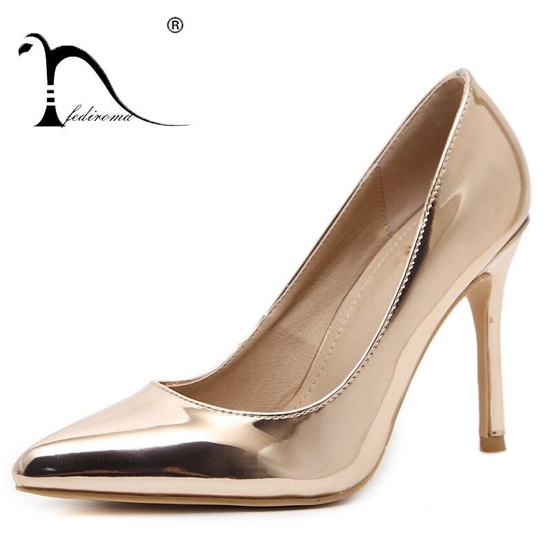 Fediroma ماركة موجزة براءات جلد امرأة عالية الكعب 9.5 سنتيمتر الفم الضحلة أحذية عالية الكعب عارضة أشار تو المرأة مضخات 34-42