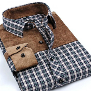 Patchwork Social Long Sleeve Plaid Men's Shirt 3