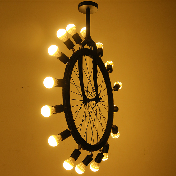 Vintage Industrial Tyre Ferris Bicycle Wheel Iron LED Ceiling Light Cafe Club Bar Cafe Decorative Lighting