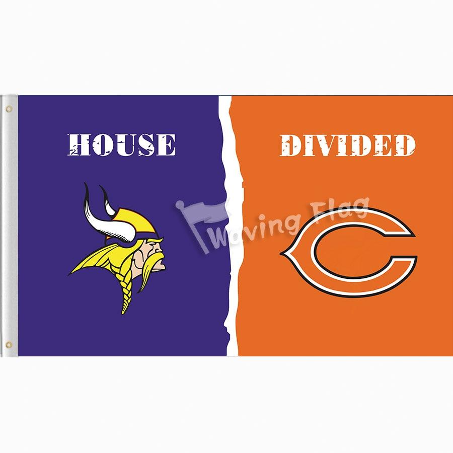 Minnesota Vikings vs Chicago Bears House Divided Rivalry Flag 3'*5' 100D Polyester free shipping