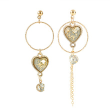 heart love asymmetric crystal dangle earrings for girls long temperament personality wild drop shipping