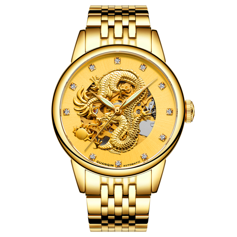 GUANQIN GJ16059 watches men luxury brand relogio masculino Skeleton Gold Dragon Stainless Steel Automatic Mechanical Wristwatch rosdn luxury men gold watches famous brand men s automatic mechanical watch mans gold skeleton mechanical wristwatch