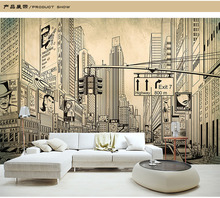 shinehome european modern grey city building architecture sketch wallpaper mural rolls for living room wall