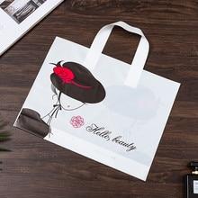 Grande saco de plástico da menina da forma com punhos engrossado saco de presente portátil roupas de compras saco de embalagem presente bolsas de armazenamento 50 x