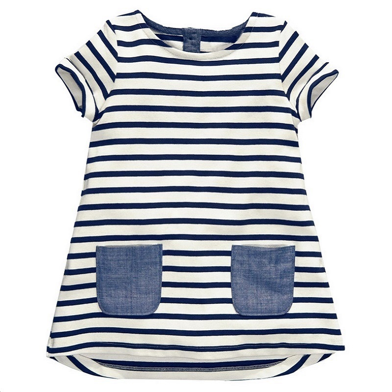 2017 New 1-7 Years Girls Dress Blue Stripe Summer Dresses Cotton Casual Long Tops Kids Clothing KF047