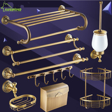Europe Bronze Bathroom Hardware Sets Antique Solid Brass Carved Accessories Products Df15  Set