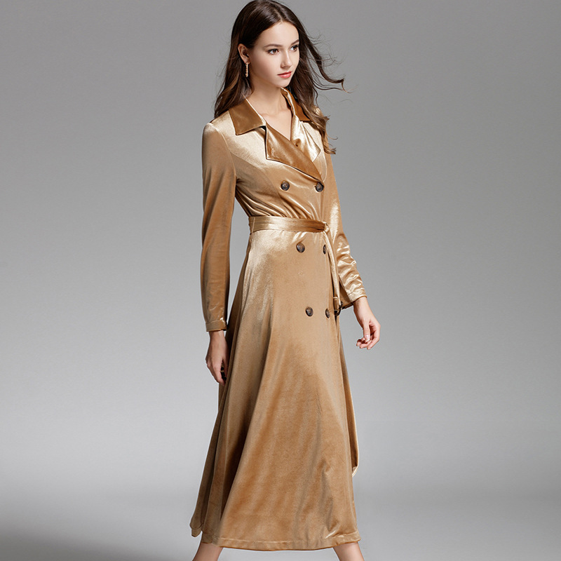 Outerwear X-Long-Coat Trench Classic Autumn Double-Breasted Casual Woman High-Fashion
