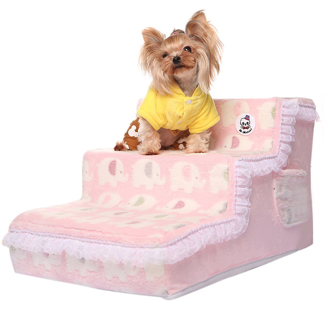 Elegant Princess Lace Dog Beds Stairs Dog Ramp Pet Stairs Soft Plush Cover  Puppy Cat Ladder